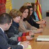 L'alcaldessa durant la visita feta avui a l'Ajuntament per la consellera Meritxell Borràs